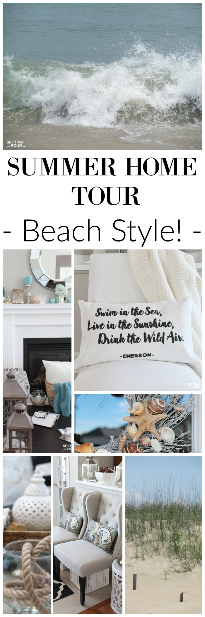 See this beautiful Summer Home Tour - BEACH STYLE! Lots of home decor ideas for summertime.