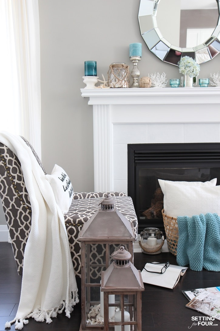 See tons of GORGEOUS Beach Style Decorating Ideas for your home in this coastal home tour. Lots of rooms decorated in beautiful coastal palettes and accents to grab ideas from.