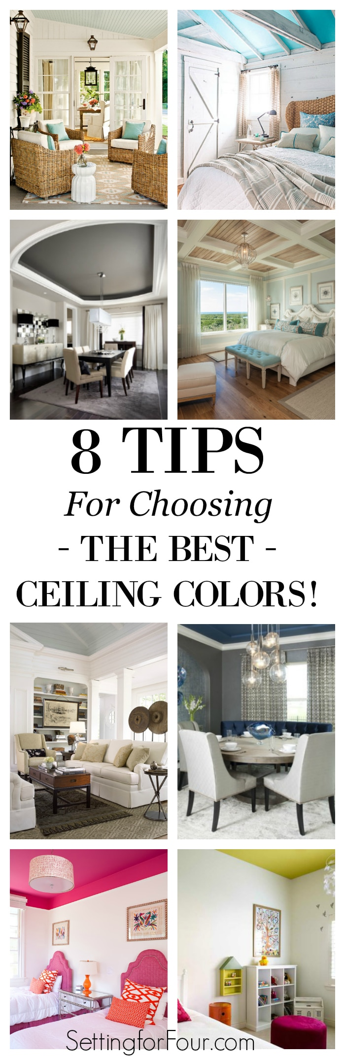 In interior design the ceiling is considered the 5th wall - so go ahead and paint it! See inspiration room photos and follow these 8 tips I've rounded up for choosing beautiful ceiling colors that will coordinate with the rest of your room. Avoid these color pitfalls and decor don'ts!