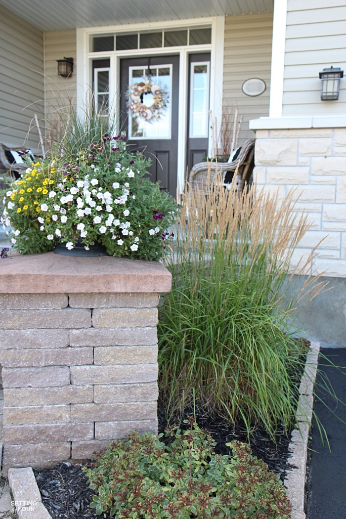 Our home's front flower beds contain ornamental grasses and sedum - both low maintenance plants for your flower gardens!