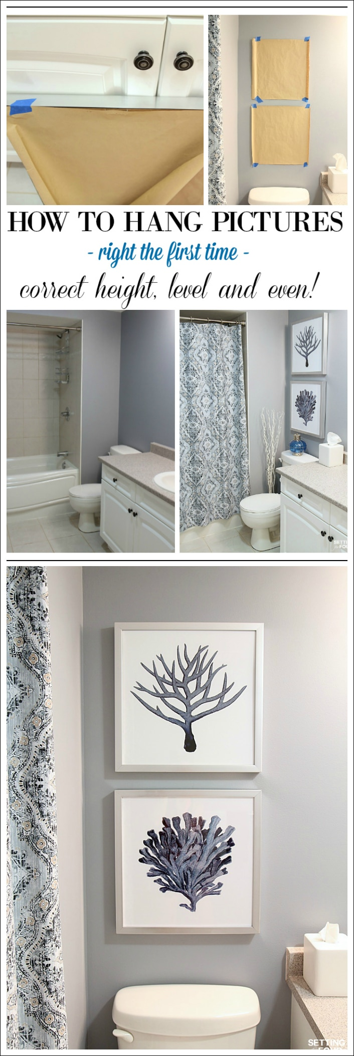 height measurements and how to hang pictures in a bathroom setting for four. Black Bedroom Furniture Sets. Home Design Ideas