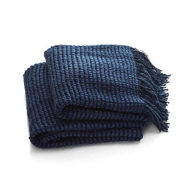 Chunky knit indigo blue throw - add this to a sofa or accent chair to instantly update your home.