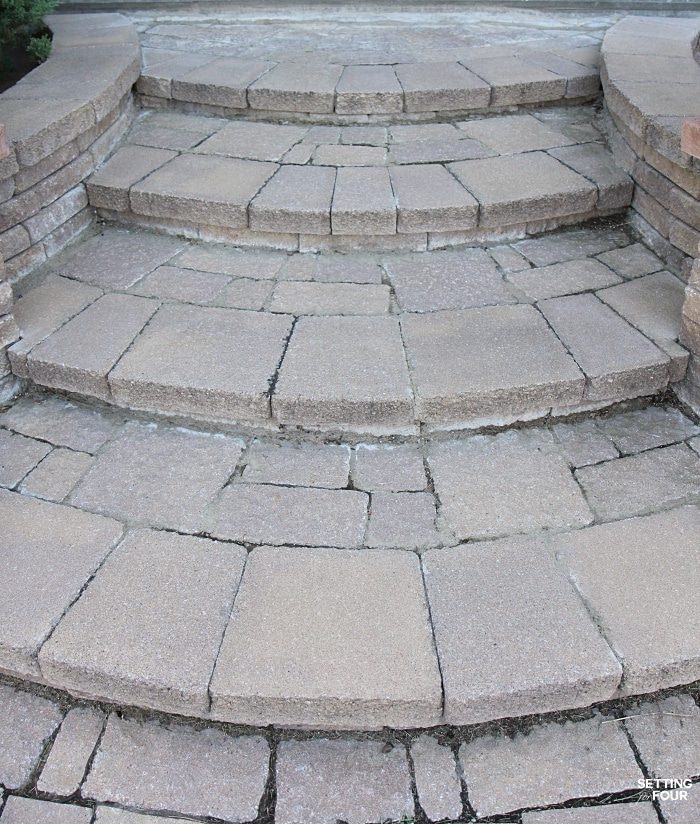 See our gorgeous inlaid stone front steps with a wide curved design - add a lot of curb appeal to our home!