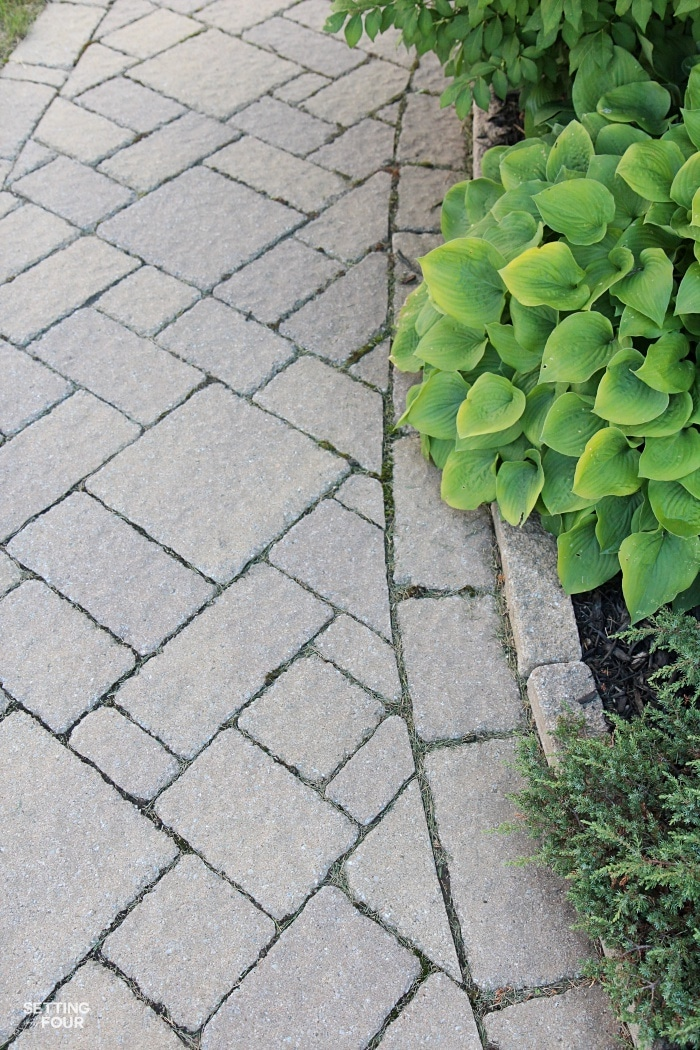 See our inlaid stone pathway and flower beds with hostas!