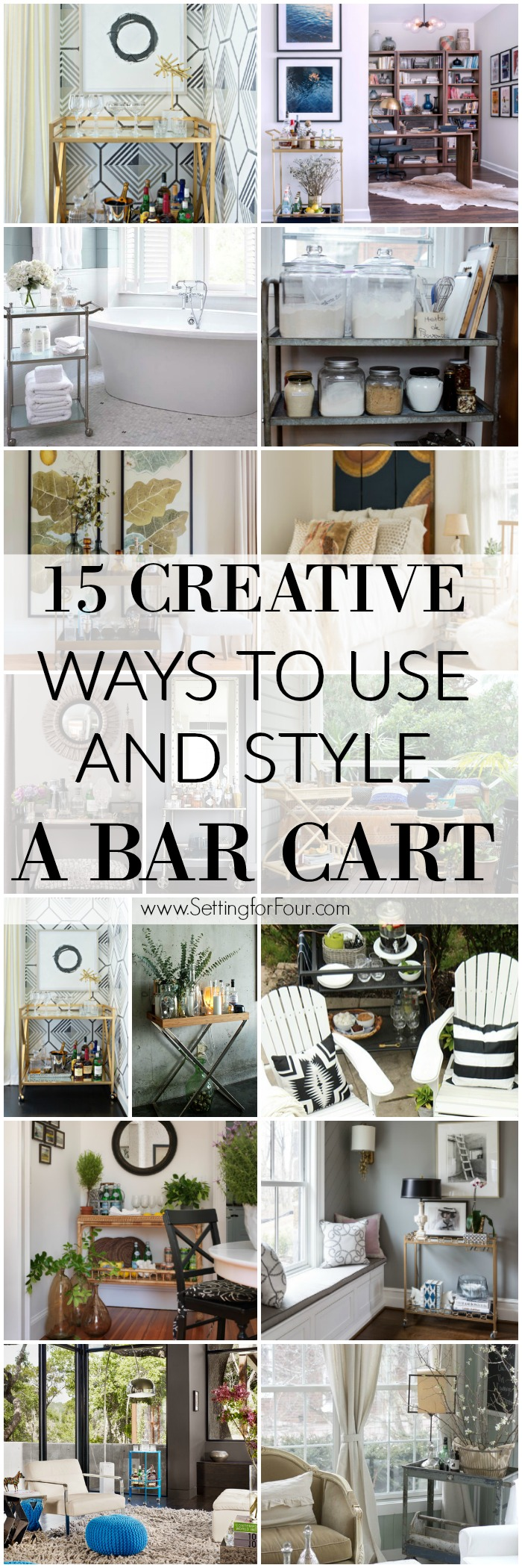 See these 15 CREATIVE Ways to Use and Style a Bar Cart and get stylish and clever ideas on how to use them in kitchens, dining rooms, bathrooms and bedrooms!