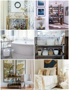 Get these 15 CREATIVE Ways to Use and Style a Bar Cart and get ideas on how to use them in kitchens, dining rooms, bathrooms and bedrooms!
