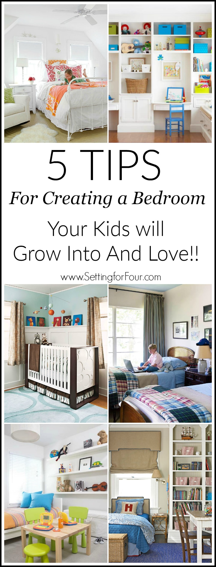 Save money and time! 5 Tips for Creating a Kids Bedroom They Will Grow Into and Love! Avoid redecorating their rooms every time they find a new favorite color or interest. Timeless styles and fun decor ideas.