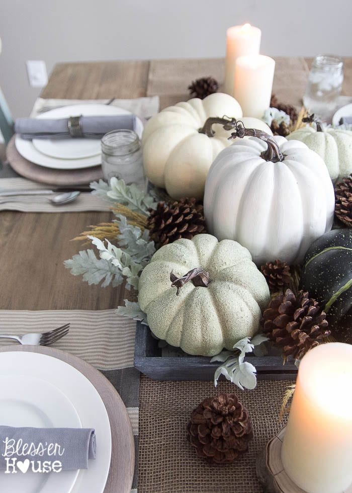 A Muted Fall Centerpiece: See all 7 Stunning Fall Centerpiece Ideas to decorate your home for autumn! 7 beautiful easy to make centerpiece ideas using pumpkins, gourds, feathers and fall leaves for your dining table, end table and coffee table!