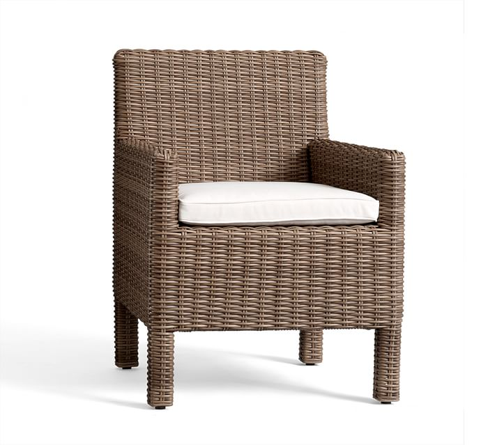 Outdoor all weather wicker dining chair - love the color and square arm detail!