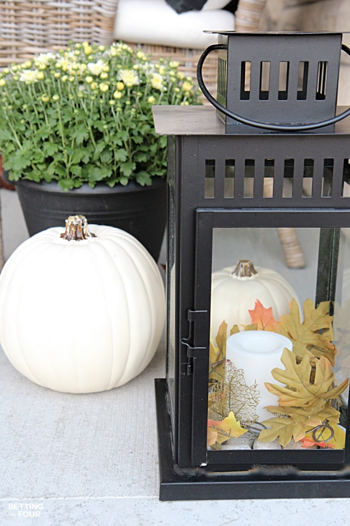 Welcome to my Fall Home Tour Part 2 - my Fall Front Porch! See my Fall lantern decorating ideas.