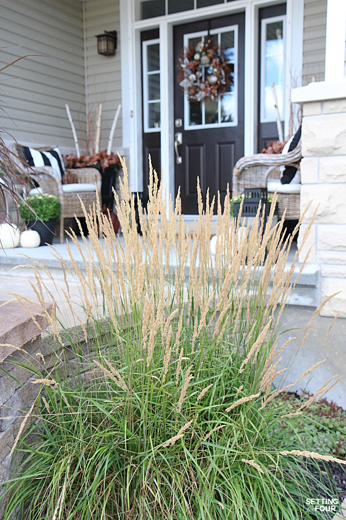 Welcome to my Fall Home Tour Part 2 - my Fall Front Porch! See my Fall garden and ornamental grasses.