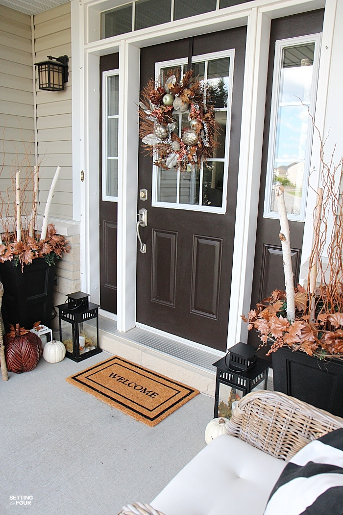 Welcome to my Fall Home Tour Part 2 - my Fall Front Porch! See my Fall urns and wreath for our front door area.