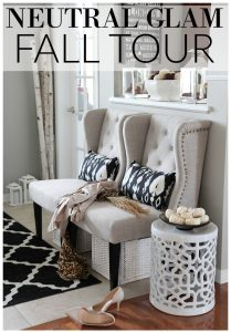 See this design blogger's neutral glam fall home tour with simple, easy and cozy fall decorating ideas for a neutral color scheme.
