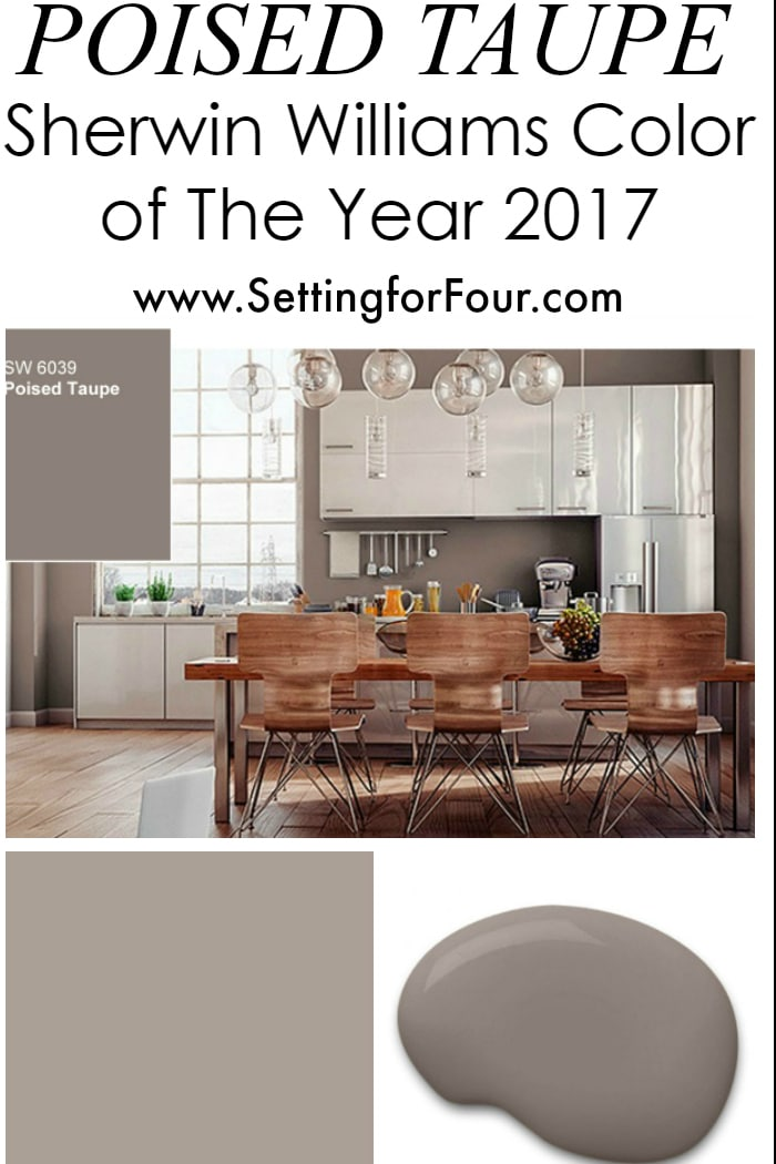 Sherwin williams poised taupe color of the year 2017 for Kitchen cabinet trends 2018 combined with instagram wall art