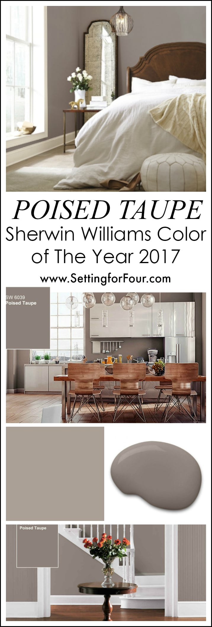 sherwin williams poised taupe color of the year 2017 setting for four. Black Bedroom Furniture Sets. Home Design Ideas