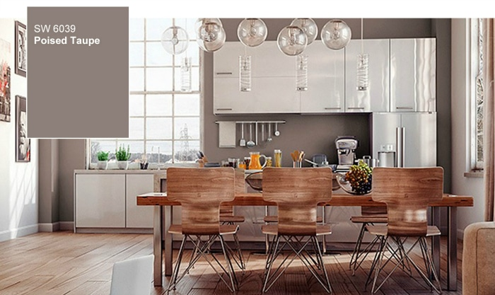 Poised Taupe paint color in a kitchen - beautiful with white cabinets and wood and metal dining furniture.