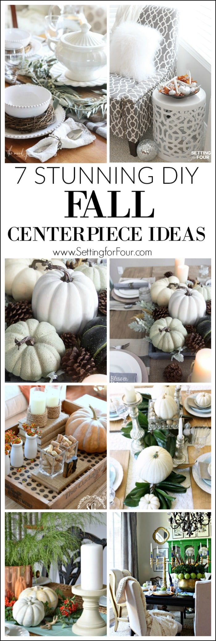 See 7 Stunning Fall Centerpiece Ideas to decorate your home for autumn! 7 beautiful easy to make centerpiece ideas using pumpkins, gourds, feathers and fall leaves for your dining table, end table and coffee table!