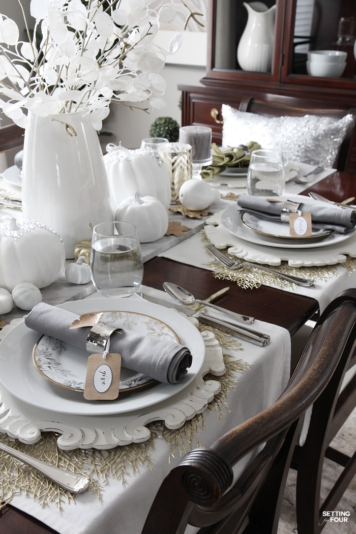 How to set an elegant Thanksgiving table - for less! #budget #decorating #decorations #decorinspiration #thanksgiving #tablescape