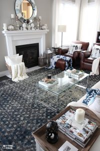 Sometimes just adding an area rug to a room can give it a whole new look! See how my new indigo and gray vintage style area rugs gave my brown leather living room furniture, gray walls and kitchen eating area a whole new stylish look! I also have an incredible rug giveaway for you too!