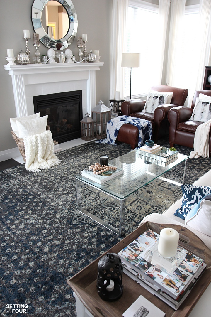 Sometimes just adding an area rug to a room can give it a whole new look! See how my new indigo and gray vintage style area rugs gave my brown leather living room furniture, gray walls and kitchen eating area a whole new stylish look!
