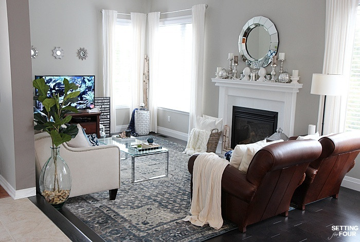 New rug, new look! See how adding this area rug gave our living room new style and a new feel!