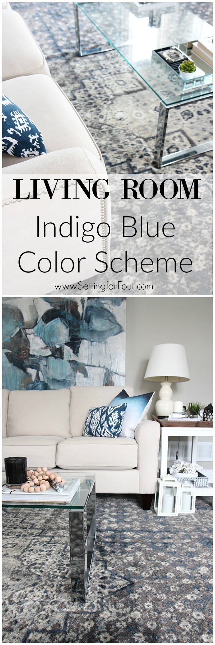 Living Room Indigo Blue Color Scheme. You HAVE to see this amazing gorgeous indigo blue area rug in a vintage washed pattern. Resource list for the entire room included!