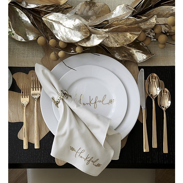 Gold handwriting 'thankful' dinnerware - perfect for Thanksgiving dinner tabletop!