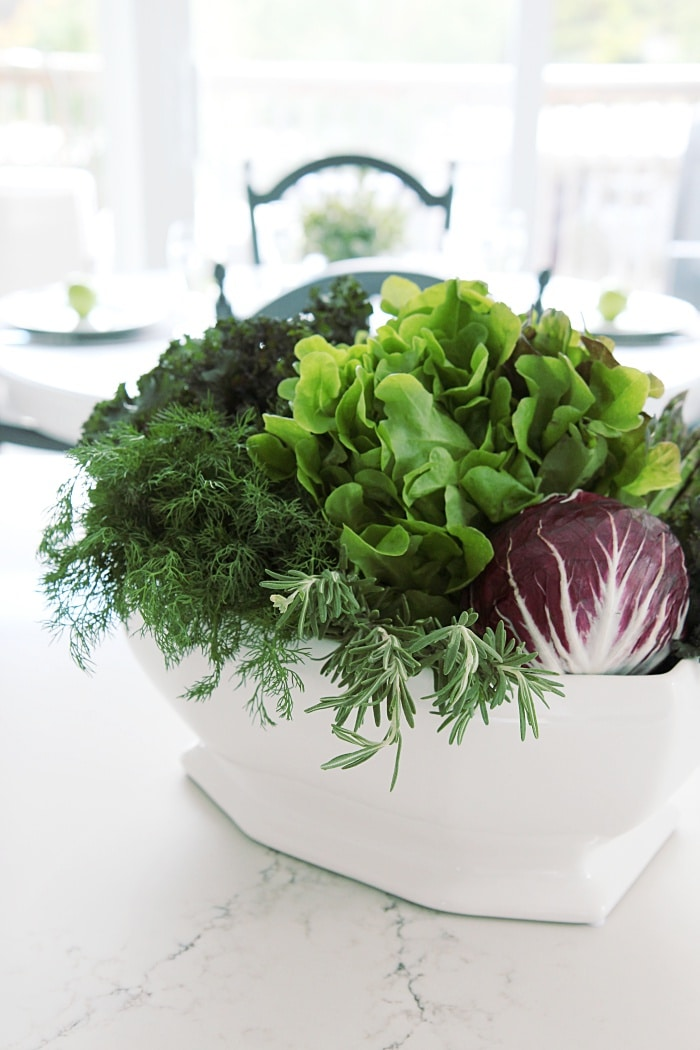 Quick and Easy DIY vegetable, fruit and herb centerpiece arrangement.