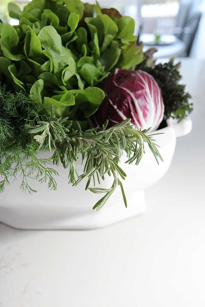 Vegetable, herb and fruit DIY centerpiece arrangement idea for your table top.