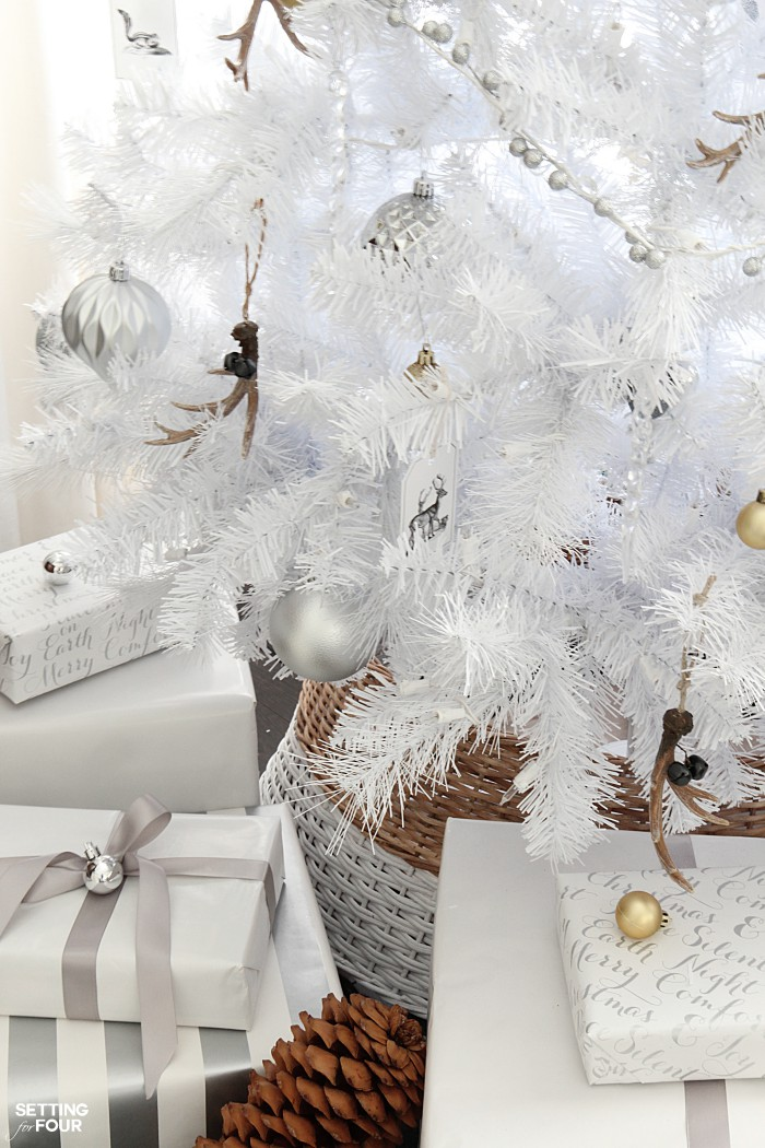 White Christmas tree decor ideas- rustic glam style! If you love neutral home decor you'll love these holiday tree decorating ideas!