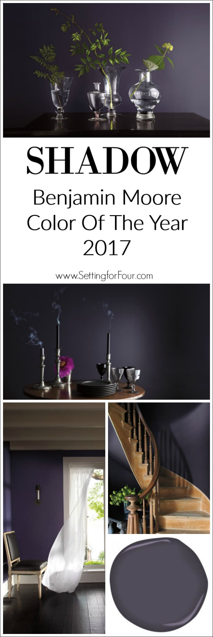 For your home: Looking for a paint color to paint your next room? See why I love Shadow BM 2117-30: Benjamin Moore's Color of the Year 2017 and how it looks in real rooms!