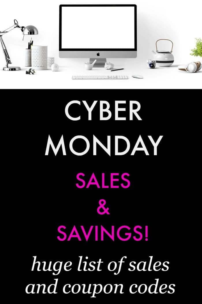 Check out this HUGE LIST of Cyber Monday Deals Sales and PROMO CODES. Finish your Christmas gift shopping! Electronics, gadgets, fashion, beauty, kids. #cybermonday #electronics #savings #deals #online #shopping #budget #sale #onlineshopping