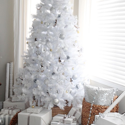 Rustic glam white Christmas tree.