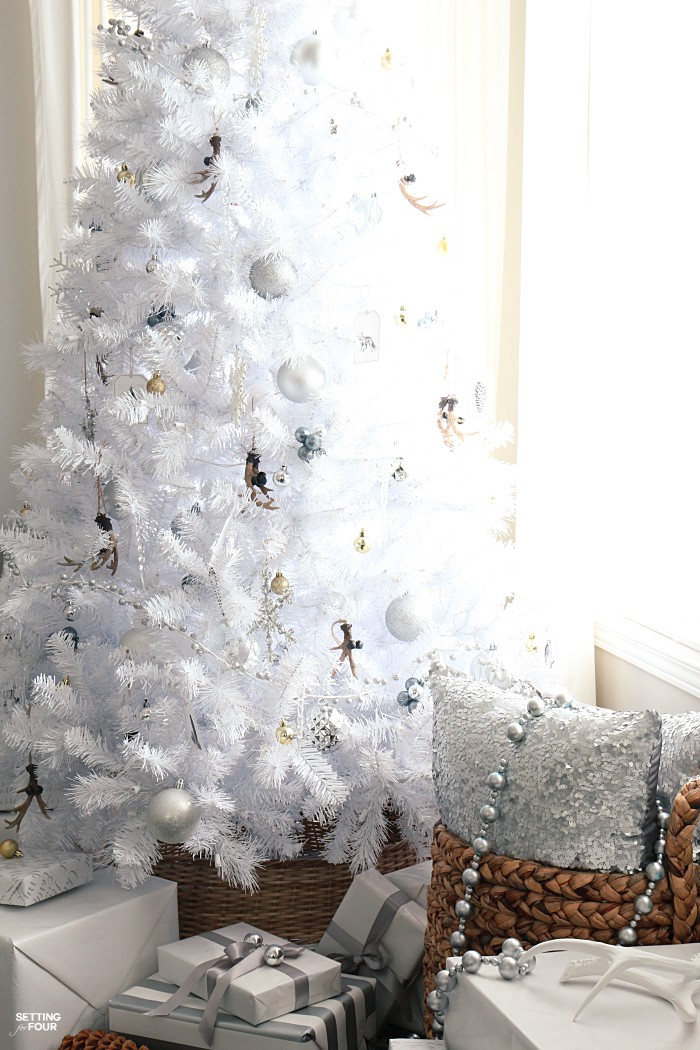 White Xmas Decorations Of White Christmas Tree Rustic Glam Style Setting For Four
