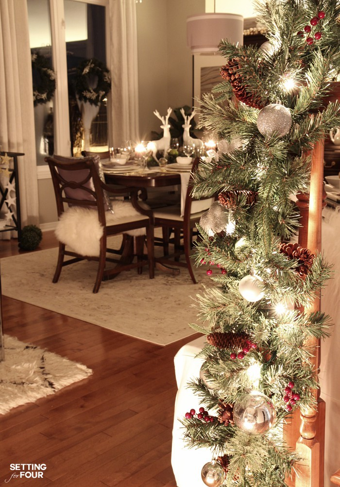 Magical Christmas Lights at Night Home Tour - see our dining room lit up with Christmas lights at night!