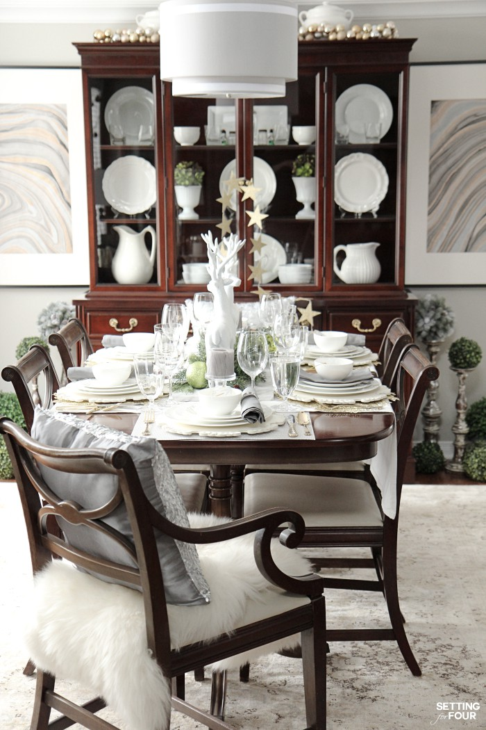 Holiday Home Decor Idea: See this design blogger's elegant HOLIDAY CHIC dining room and an exciting Mikasa Dinnerware Giveaway - sponsored - to win one 16 piece dinnerware set!