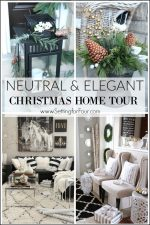 Elegant and Neutral Home Tour and decorating tips - see my front porch, foyer, family room, dining room and Christmas tree with festive glam decor ideas.