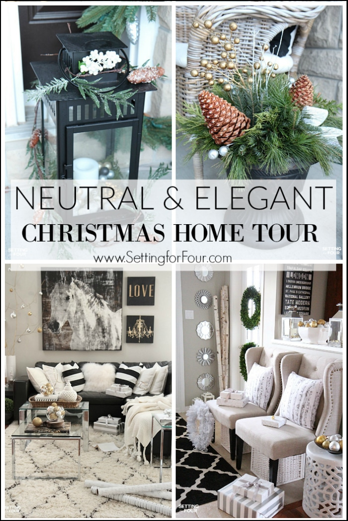 Elegant and Neutral Christmas Home Tour and decorating tips - see my front porch, foyer, family room, dining room and Christmas tree with festive glam decor ideas.