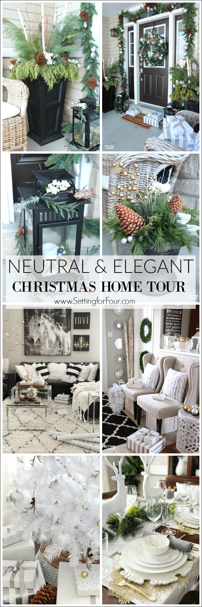 Love neutrals and glam decor? Come and see my Neutral and Elegant Christmas Home Tour! I'm sharing lots of ideas on how to decorate for the holidays with metallics, neutrals and elegant glam decor!
