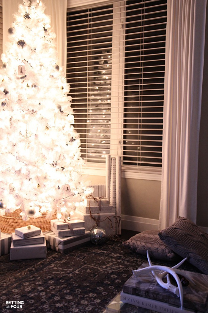 Magical Christmas Lights at Night Home Tour - our white Christmas tree lit at night.