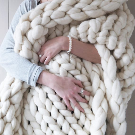 Super Chunky knit throw - these oversized knit throws are really hot right now! This one looks so incredibly warm and cuddly! Perfect to curl up with on movie nights or while reading a good book!