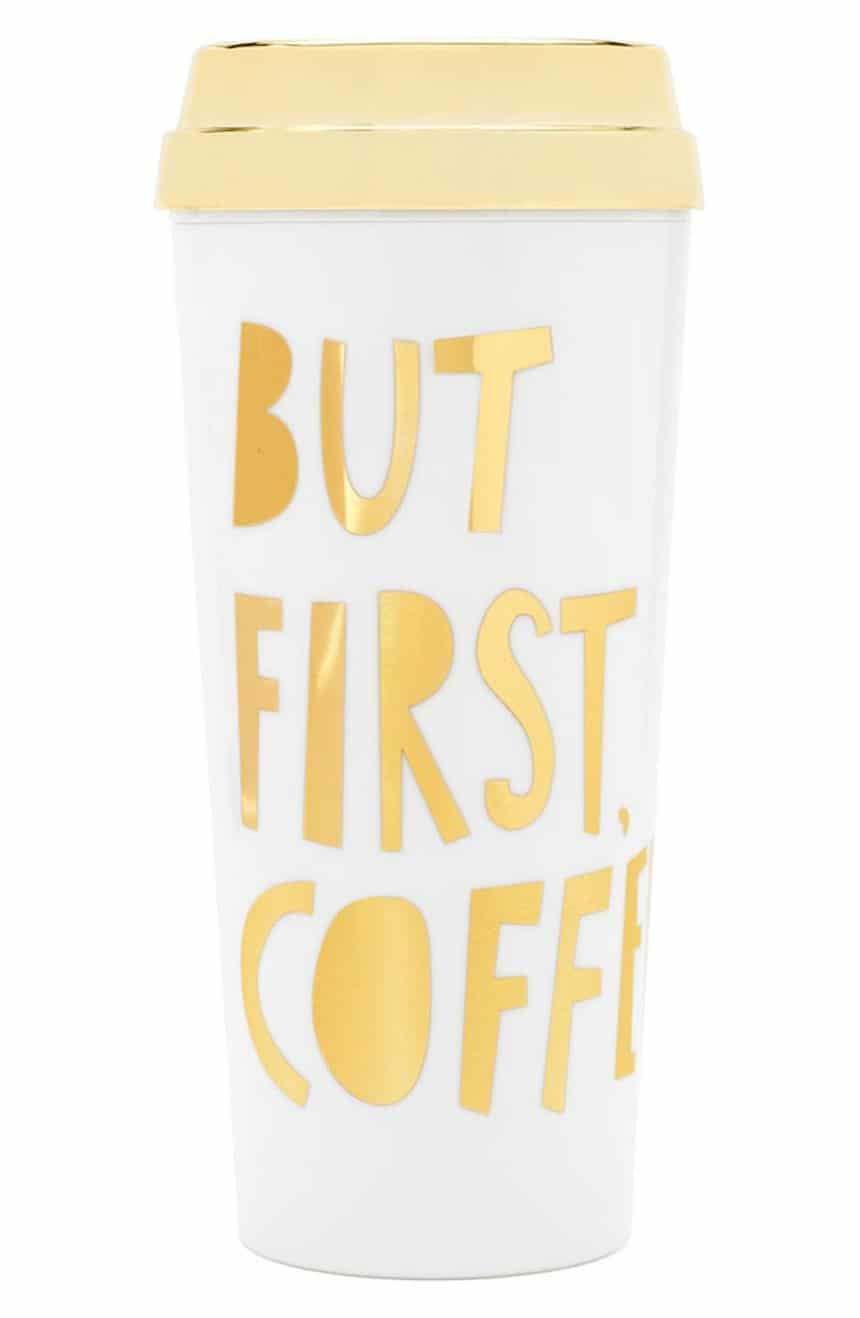 'But First Coffee' Thermal Travel Mug - I need this! I love the playful quote (yep- so true!) and the glam gold lettering. This chic travel mug will keep coffee and tea warm while you're on the go!