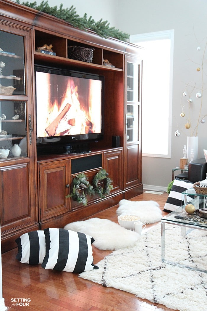 See my Neutral and Elegant Christmas Home Tour and my family room decorating tips!
