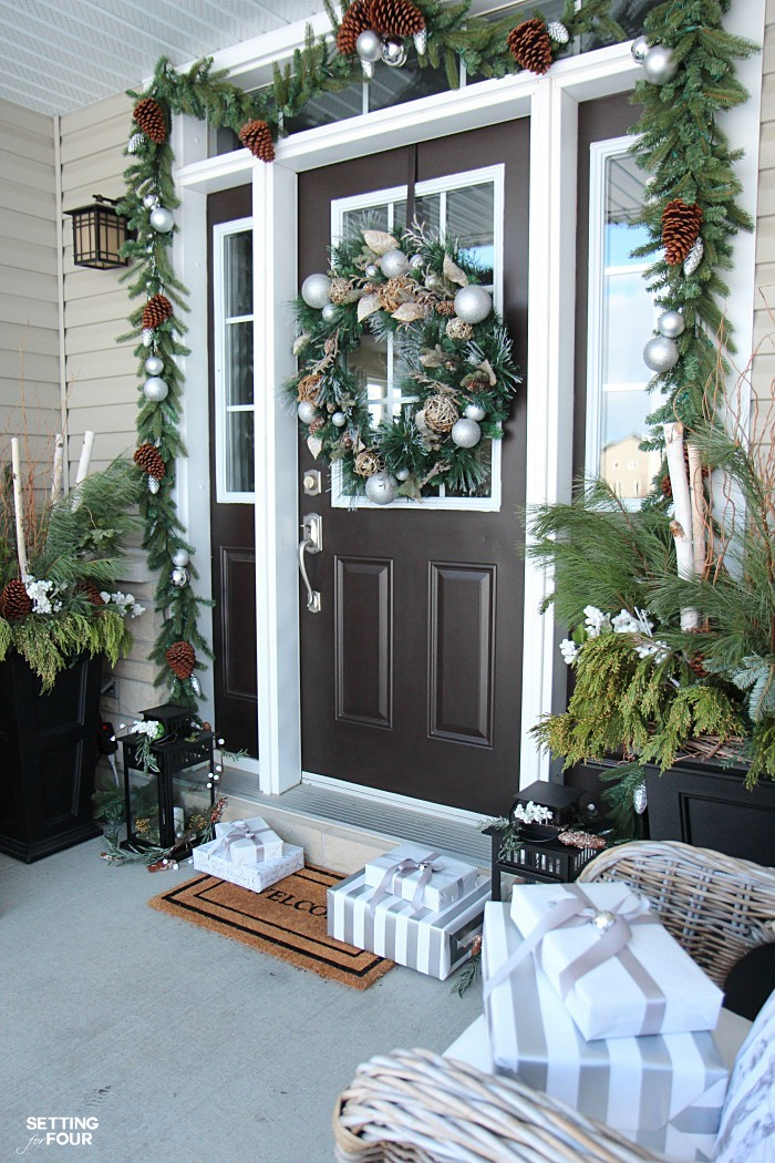 Christmas home decor ideas: See my Neutral and Elegant Christmas Home Tour and my front porch Christmas decorating tips!