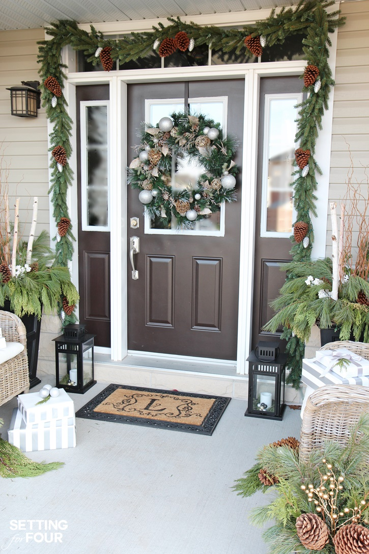 10 minute Holiday Home Decor Idea: Learn how to decorate lanterns for Christmas. I display mine on my holiday porch!