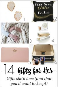 Looking for a fabulous gift for her? Check out these awesome gift ideas that she'll love to receive and that you'll want to keep for yourself! 14 Great gift ideas for your mother, sister, niece, cousin, teacher gifts and more!