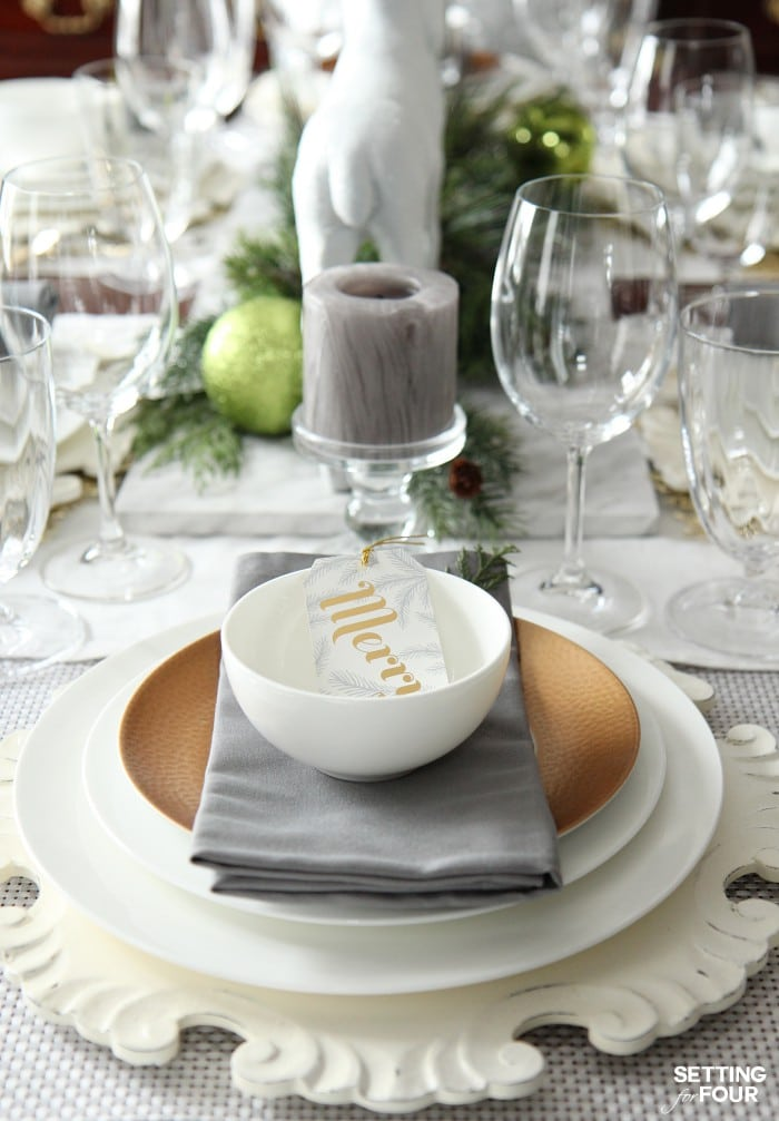Holiday Home Decor Idea: See this design blogger's elegant HOLIDAY CHIC gold and white place setting and an exciting Mikasa Dinnerware Giveaway - sponsored - to win one 16 piece dinnerware set!