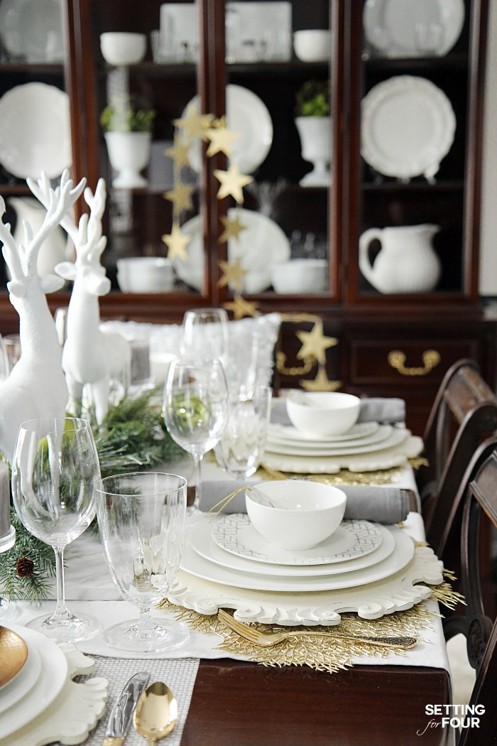 Holiday Home Decor Ideas: See this design blogger's elegant HOLIDAY CHIC tablescape and an exciting Mikasa Dinnerware Giveaway - sponsored - to win one 16 piece dinnerware set!