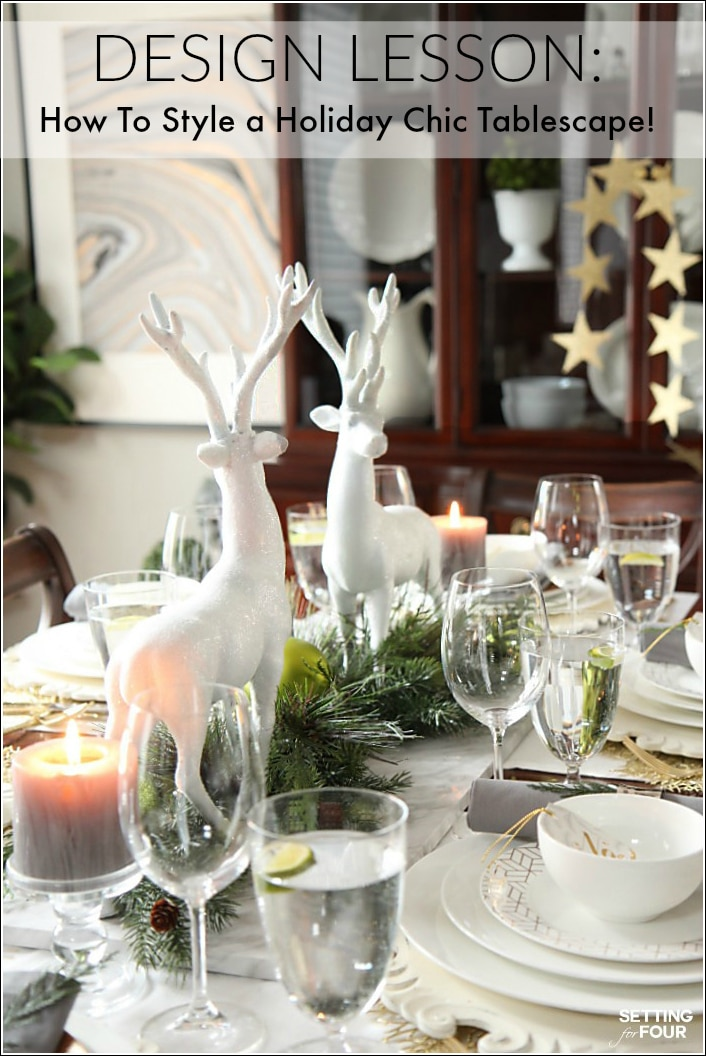A holiday chic Christmas centerpiece is easy to create with a few essential decor elements! See the design lesson, styling secrets and tips on how to create this design blogger's chic winter wonderland look for your holiday table!