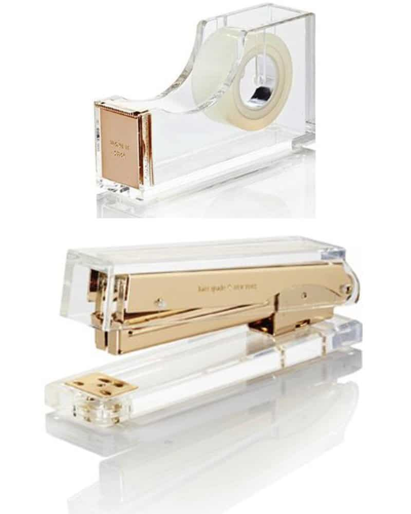 Gold and Acrylic Desk Set - Get a glam desk set like this to replace your mismatched set and kick your workspace up a notch! These pieces are so elegant and chic!